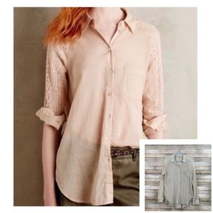 Anthro Holding Horses Lace Inset Button Down Top M